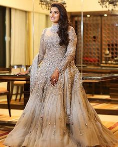 Explore the best Designer Wedding Gowns and Dresses at Live Enhanced. Visit for more designs for gowns and more ideas for the wedding gowns and dresses. Pakistani Formal Dresses, Indian Gowns Dresses, Indian Bridal Outfits, Indian Bridal Fashion, Stylish Dress Designs, Stylish Dresses, Fashion Dresses, Designer Wedding Gowns, Designer Dresses