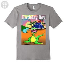 Mens Birthday Boy Dinosaur Volcano T-Shirt XL Slate - Birthday shirts (*Amazon Partner-Link)