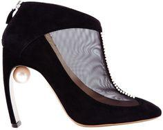 Nicholas Kirkwood Suede and Mesh Shoe Booties in Black