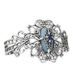 Carolyn Pollack Sterling Silver Anhydrite Iolite Promenade Cuff Bracelet