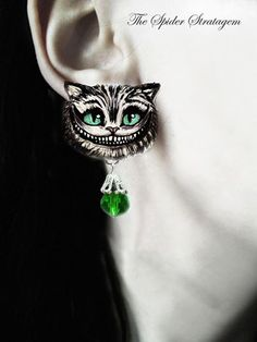 Gothic spooky earrings and ring 'Cheshire Cat' door SpiderStratagem