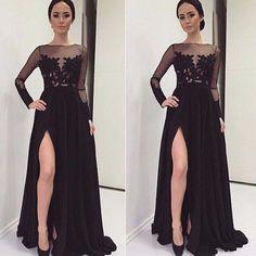 2016 Arabic Kaftan A Line Split Prom Gowns Appliques Evening Dresses Illusion Bodice Party Gowns Formal Dresses With Long Sleeve Dubai Boutique Prom Dresses Brown Prom Dresses From Hellojodie, $78.7| Dhgate.Com