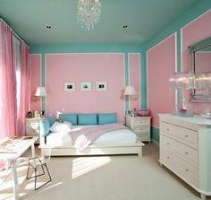 pink & teal bedroom