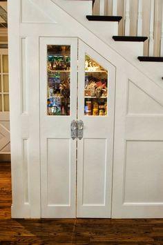 Glamorous Custom Kitchen Pantry under Stairs Staircase Storage, Under Stair Storage, Staircase Design, Modern Staircase, Kitchen Pantry, Kitchen Decor, Kitchen Design, Kitchen Ideas, Larder Cupboard