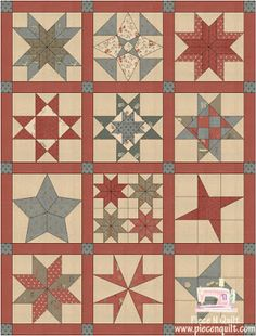12 months. I will share a complete tutorial for each block.  I am super excited about this quilt-along.  Below are two different color ways, just to give you an idea of what your quilt could loo