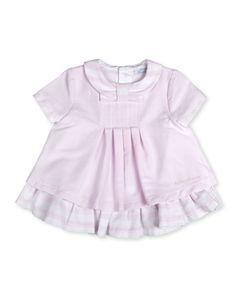 Vestido de bebé niña Tutto Piccolo con volante y cuello a rayas