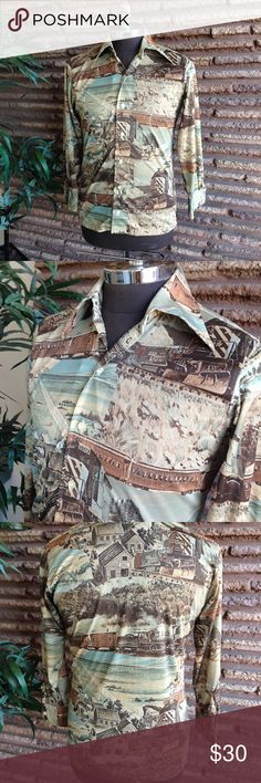 """Vintage Groovy Mens Disco Shirt Wild West Scene Because in the 1970's guys would wear shirts with almost any pattern - in this case you need a wild west scene on your qiana disco shirt. Maker: Donegal Listed Size: Medium Measurements: Shoulder to Shoulder: 16.5"""" Armpit to armpit:  21.5"""" Sleeve length: 21.25"""" - short Length: 25.5 Condition: Very good pre-owned worn used but not abused vintage condition and coming from  a non smoking home WBEC13 #vintage #disco #qiana #groovy Vintage Shirts…"""