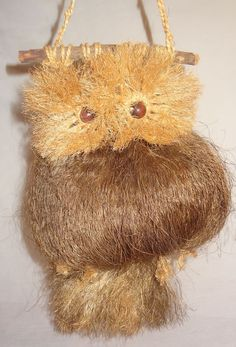 Vintage Owl Macrame Coconut Fibers Wall Hanging Brown  Handmade 15""