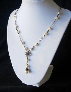 Cream Swarovski Pearl and Antique Brass Wire by BeadedDetails, $36.00