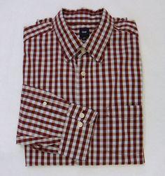 Mens GAP Light Blue Burgundy Check Button Front Casual Dress Shirt Size Large #Gap #ButtonFront