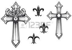 kreuz tattoo: Jahrgang Steinkreuz mit heraldischen Elemente für das Design