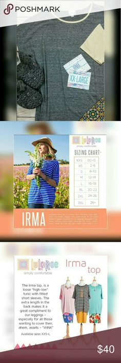 New inventory Lularoe Irma ,Super soft and comfy sizing in pictures.  Must have for fall! If paired with leggings ask for special pricing. LuLaRoe Tops Tunics