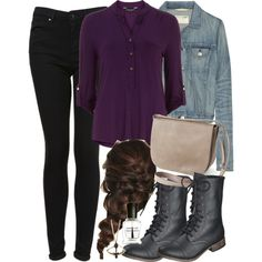 """""""Allison Inspired Outfit with Requested Boots and a Denim Jacket"""" by veterization on Polyvore Oufits Casual, Casual Outfits, Beautiful Outfits, Cool Outfits, Twilight Outfits, Teen Wolf Outfits, Teen Fashion, Fashion Outfits, Pretty Little Liars Fashion"""