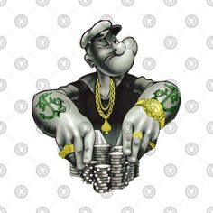 Check out this awesome 'Popeye+Gangsta' design on Tattoo Designs And Meanings, Tattoo Designs For Women, Tattoos For Women Small, Small Tattoos, Forearm Tattoo Design, Forearm Tattoos, Sleeve Tattoos, Skull Rose Tattoos, Gangsta Tattoos
