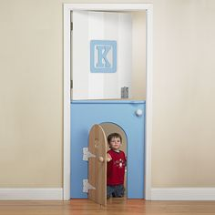 Childs Mini-Door in Blue from PoshTots- someone handy please make this and post on how to do it for a whole lot less than what these people want.