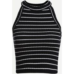 Black Striped Ribbed Knit Halter Neck Top ($7.99) ❤ liked on Polyvore featuring tops, crop tops, cropped, shirts, tanks, black, halter shirt, halter-neck tops, vest tops and ribbed knit crop top