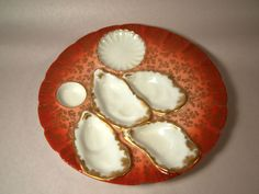 Rare Burnt Orange 1876-1889 Haviland Salesman Sample Oyster Plate