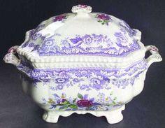 1920s Purple Transferware, Spode Mayflower