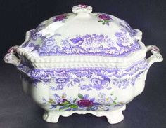 1920s Purple Transferware, Spode Mayflower