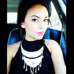 Janel's make up is perfection! We also love her chunky tribal chic necklace!   Pretty Little Liars
