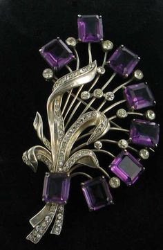 EISENBERG ORIGINAL Giant Sterling Amethyst Crystal Diamante 'Bunch of Flowers' Brooch