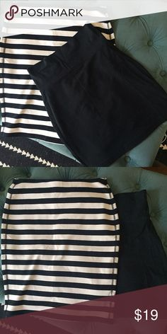 "🎈Deal Alert!🎉Cute skirts! Two for One Price Both skirts are stretchy. The striped skirt is slightly longer knee length on me (I'm 5'3) and the black is a mini. The striped one is from old navy and the black is a local Bay Area label ""many belles down"" that was sold at an independent boutique so it is handmade in San Jose. You will receive BOTH items shown for this crazy good price! I'm open to reasonable offers! Old Navy Skirts"