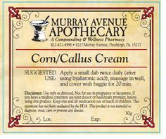 MAA Corn/Callus Cream (a Murray Avenue Apothecary proprietary formula) - helps soften and heal the skin, promote removal of corns and calluses, and has anti-inflammatory/anti-pain properties, anti-viral, anti-fungal, and antiseptic properties.