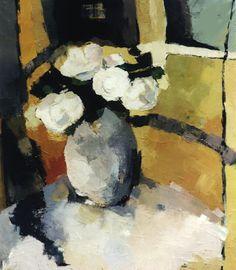 """""""Roses blanches devant la fenêtre""""-Bénédicte Garnier-Fihey-Oil on canvas"""