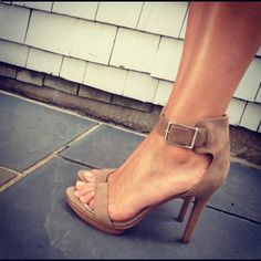 Calvin Klein. Tan heels and latte coloured nail polish