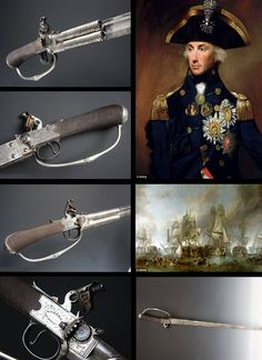 Sword-pistol 'brandished by Lord Nelson' at Battle of Trafalgar. He was a Supreme commander and led the British to victory over the French and Spanish navies at Trafalgar was fatally injured during the battle. The piece was made by H.W. Mortimer of the finest silver of the time, ca. 1805.