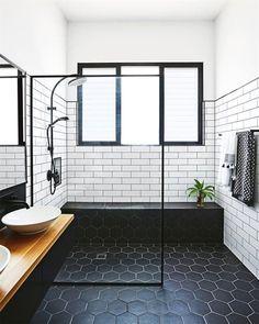 Midcentury Modern Bathroom Tile Ideas Midcentury bathroom where white subway tiles meet black hexagon tiles.Midcentury bathroom where white subway tiles meet black hexagon tiles. Modern Bathroom Tile, Modern Farmhouse Bathroom, Bathroom Renos, Bathroom Interior, Bathroom Remodeling, Rustic Farmhouse, Bathroom Black, Bathroom Vanities, Bathroom Layout