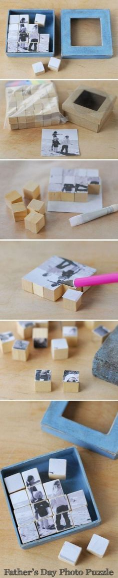 28 Creative Handmade Photo Crafts with Tutorials Photo Puzzle Blocks. These photo puzzle blocks serve as a great visual reminder of the one you love. Cool DIY gift ideas for Father's Day, Mother's Day and more. Diy Photo, Photo Craft, Photo Ideas, Picture Ideas, Fun Crafts, Diy And Crafts, Crafts For Kids, Puzzle Crafts, Baby Crafts