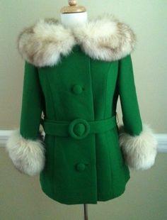 2Die4 Vtg 60's Emerald Green Virgin Wool & LUSH Fox Fur Belted Coat