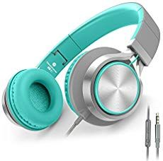 AILIHEN Headphones with Microphone and Volume Control Folding Lightweight Headset for iPad iPhone iPod Tablets Smartphones Laptop Computer PC (Grey/Mint) Kids Headphones, Headphones With Microphone, Bluetooth Headphones, Over Ear Headphones, Pc Computer, Laptop Computers, Ipod, Digital Piano, Gaming Headset