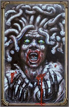Medusa was a monster, one of the Gorgon sisters and daughter of Phorkys and Keto, the children of Gaea (Earth) and Oceanus (Ocean). Greek Monsters, Turn To Stone, Greek Mythology, Medusa, Fantasy Art, Lion Sculpture, Statue, Pictures, Fictional Characters