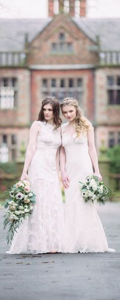Cheyenne and Wyoming from Romantique by Claire Pettibone, Photo: Jade Osborne https://romantique.clairepettibone.com/collections/into-the-sunset-lace-wedding-dresses/products/cheyenne-in-ivory