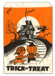 """Vintage Halloween Candy Bag ~ Vintage """"Trick Or Treat"""" Candy Bags w/ Costumed Children and Haunted House"""