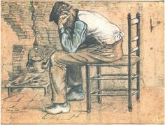 Peasant Sitting by the Fireplace (Worn Out) by Vincent Van Gogh Watercolor, Pen, watercolour  Etten: September, 1881