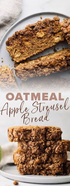 Super moist & delicious apple streusel bread! This apple loaf is filled with hearty oat flour, coconut sugar, and is dairy-free friendly. Every bite is filled with delicious flavors of apples & cinnamon, and is perfect for serving up for brunch or as a healthy dessert! | asimplepalate.com #applebread #streuselbread #oatflour #dairyfree #fall Apple Loaf, Apple Bread, Oat Flour Recipes, Baking Recipes, Easy Desserts, Dessert Recipes, Apple Streusel, Baked Oats, Fall Baking