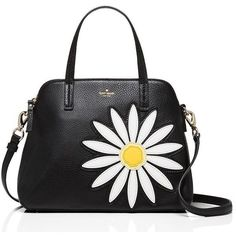 Kate Spade Down The Rabbit Hole Daisy Applique Leather Maise (730 BRL) ❤ liked on Polyvore featuring bags, handbags, shoulder bags, purses, bolsas, accessories, leather hand bags, kate spade purses, genuine leather shoulder bag and leather shoulder bag