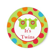 Baby Owl Clothes  It's Twins Baby Shower Sticker