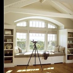 bay window treatment with bench | LOVE THE WINDOW BENCH & LARGE WINDOW