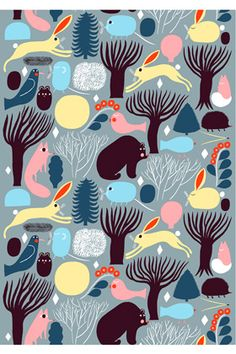 Huhuli fabric from Marimekko has a pattern of animals in the forest in nice colorways. This playful fabric looks just as good in the children's room as the living room. Combine with other fine interior details from marimekko. Motifs Textiles, Textile Patterns, Textile Design, Fabric Design, Print Patterns, Design Patterns, Textile Prints, Design Art, Marimekko Fabric