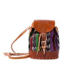 Vintage Small Bucket Bag Tooled Leather by wildrabbitvintage, $38.00