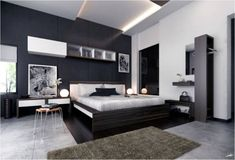 Bedroom: Black Accent Wall With Textured Marble Floor For Modern ...