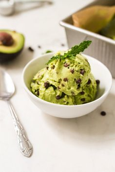Mint Chocolate Chip Cado Cream (Avocado Ice Cream) made with avocados, almond milk and coconut oil. It's dairy-free, gluten-free, vegan and paleo friendly.