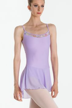 ENORA - Light and whimsical, this fairytale camisole dress features three very different fabrics, Soft floral micromesh, four-way stretch mesh and our luxurious microfiber. Features floral detail on the top of the dress, beautiful open mid-back and floral detail on upper-back. Fully front lined. #wearmoi #ballet #dresses