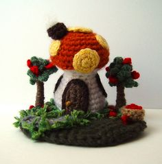 Crochet Mini Orange Mushroom House Sculpture 2 1/2 inches tall   Flickr - Photo Sharing!