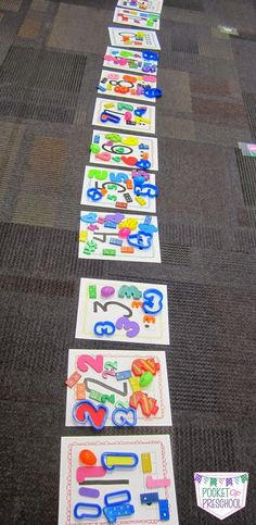 Number Identification Game using Number Manipulatives use any number cards and have students match the number manipulatives to the numeral cards by Pocket of Preschool