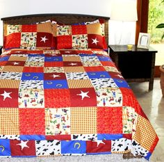 Multiple Sizes - Boys Comforter Set - Cowboy - Kids Style-Twin- Exclusively by BlowOut Bedding RN Boys Comforter Sets, Teen Bedding, Bedding Sets, Western Quilts, Disney Bedrooms, Luxury Duvet Covers, Bed In A Bag, Love Home, Red White Blue